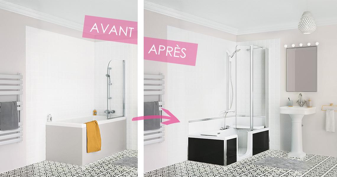 Installation combiné douche et baignoire senior